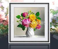 5D DIY diamond Painting crystal European style flower 3D Cross Stitch Decorative diamond embroidery Round Rhinestone 51x51cm