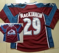 Colorado Avalanche #29 Nathan MacKinnon Red Blue White Ice Hockey Jerseys cheap,free shipping