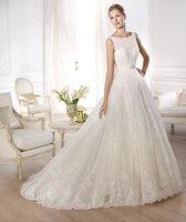 NEW 2014 Tulle princess skirt Sleeveless bateau bodice Sabrina-style draped in tulle  women wedding dress