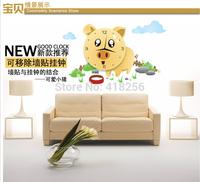 Freel shipiing Creative DIY Removable Wall Stickers Hua Yan cute pig cartoon wallpaper wall clock Wall Clock