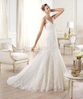 NEW 2014 Fashion Floor-length  brush train sleevess empire chiffon with embroidery  zippe ball gown women wedding dress