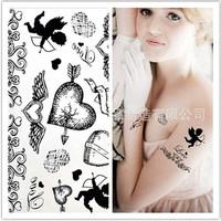 Hot Sale Temporary Tattoo Stickers Temporary Body Art Supermodel Stencil Designs Waterproof Heart Tattoo Cupid Pattern