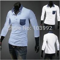 Size M-XXL Autumn New Arrive  Wild Slim Long-sleeved Collar False Pocket POLO Shirt For Men  Wholesale&Retail,white blue D1410B