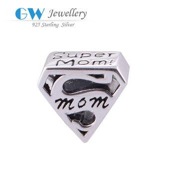 Супер мама 925 стерлингового серебра прелести для изготовления ювелирных изделий ...