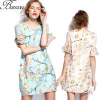 Summer Dress  2014 Women roupas femininas Flower Print Shift Dresses Ruff Sleeve Lace Floral Dress Wholesale Free Shipping