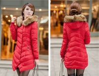 Free shipping the new 2014 han edition hooded down cotton-padded jacket in ms long cotton-padded clothes coat (3 color)