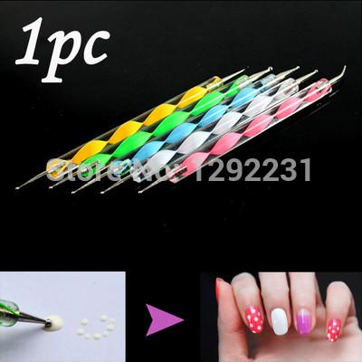 Free Shipping Brand New 1pc 2 Way Dotting Marbleizing Pen Nail Art Dot Paint Manicure Tool Hot A1596 Hfdw(China (Mainland))