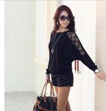 2014 new Autumn Ladies Boutique dolman sleeves lace stitching bat sleeve T-shirt free shipping(China (Mainland))