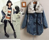 Free shipping New Arrival Ladies Fashion Jeans Long Fur Coat Long Sleeves Women female overcoat Thick Denim Coat Fashion
