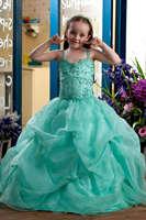 Spaghetti Straps Beaded Green Ball Gown Flower Girl Dress
