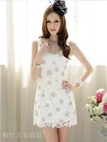 2014 summer   temperament limited edition embroidered artificial Diamond luxury party big yards ladies white cheap dress