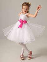 White Straps Short Tulle Flower Girl Dress for 2014