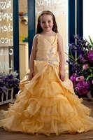 Floor Length Tiered Taffeta and Organza Yellow Flower Girl Dress