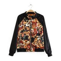 Cardigans Women Coat Women Full Jackets Fashion Round Neck Long-sleeved Leopard Zipper Jacket Rivet Coat 2014 New Wear Hot Sale