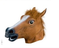 Wholesale Creepy Horse Mask Head Halloween Costume Theater Prop Novelty Latex Rubber party mask free shipping