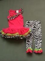 2014 girls dress arrival EMLIY ROSE RARE EDITIONS  tutu shirt dress zebra  Leopard pants Leggings suit set