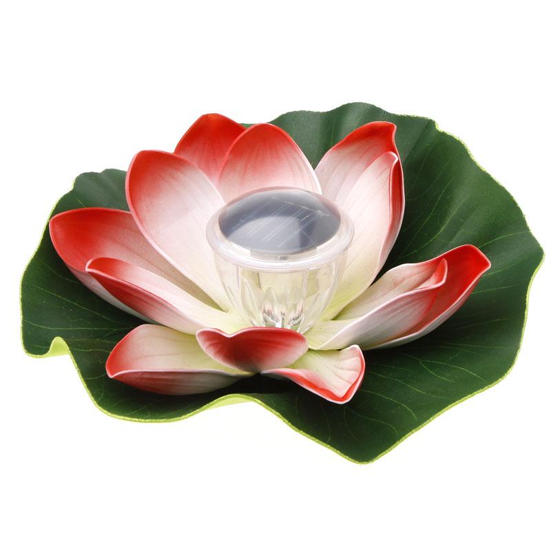 LONGSTAR Colorful Solar LED Lotus Flower Lamp Floating Pond Light Garden Pool Nightlight(China (Mainland))