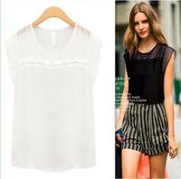 XS-XXL 2014 summer fashion Women&Lady chiffon O-NECK Sleeve-less casual sex Chiffon blouse/Loose fashion blusas pullover