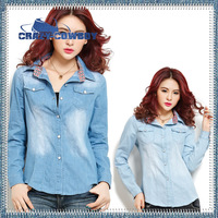 New Fashion Plus Size Plaid Long-sleeve Light / Dark Blue Casual Denim Shirt Large Women Blouse Free Shipping Women's Clothing