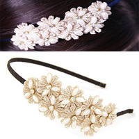 New Items Fashion Hair Jewelry Channel Pearl Lace Headbands Hairbands Hairwear Hair Accessories for Girls Hair ornament