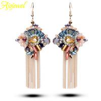 2014 unique vintage european tassel fashion jewelry luxury bohemian multicolor long crystal earrings for women