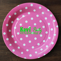 50pcs/lot 9inch Kid Birthday Decor Paper Plate,pink dots paper plate,party cake plate,Party Supplies,Free shipping