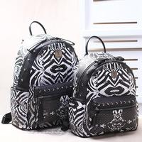 The 2014 South Korea M brand backpack  FUNKY ZEBRA black and white zebra Leather Shoulder Bag