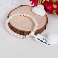 Free shipping! baby bracelet really freshwater pearl bracelet with crystal 5-6mm white & natural color pearl 5.5""