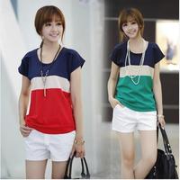 2014 plus size clothing summer slim all-match color block decoration top short-sleeve loose chiffon shirt basic shirt