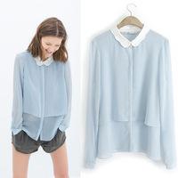 2014 New Fashion Ladies' Elegant double Chiffon blouses shirt sweet doll-collar long sleeve shirt tops casual slim brand tops