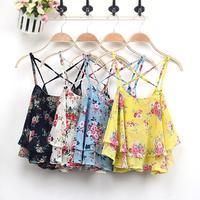 FanShou Free Shipping 2014 Fashion Women Summer Top Sleeveless Spaghetti Strap Flower Floral Print Chiffon Top Women Blouse