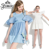 Stimor ruffle ruffled pleated sleeve one-piece dress organza strapless plus size long skirt beach clothing
