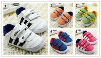 New Arrival (1 Pair) Leather Fashion Patchwork Brand Baby Sneakers Shoes 5 Colors