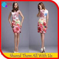 High Quality Plus Size Women's Print Flower A-line Novelty Sexy Bodycon Dress Famous Brand Party Evening Dresses