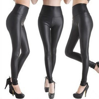 European style black leather pants Spring waisted pencil matte leather leggings free shipping wholesale women's fashion