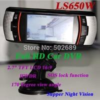 2014 New  LS650W Full HD Car DVR  Mini  Car Camera Novatek96650 Video Recorder Dash Cam carcam 1080P 2.7'' LCD F90 Free Shipping