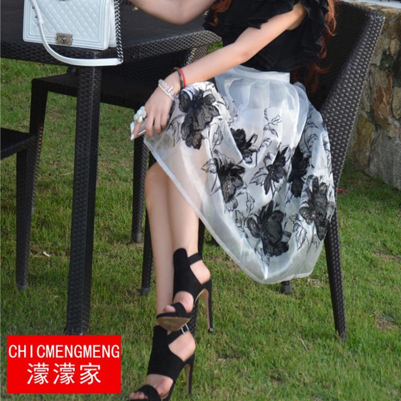 hembra de verano 2014 material de corea hepburn elegante de organza bordado de lentejuelas falda de encaje nuevo de flores de peonía paraguas