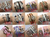 12 Styles Mix New 2014 Retro Leather Bracelet Creative Retro Love 8 Word Cross Hand Woven Bracelets & Bangles!