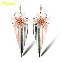 European tassel bohemian jewelry luxury champagne & white crystal long flower earrings for women 2014