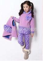 2014 autumn&winter 5-15T children gilr 3pcs/set wadded cotton dot bowknot waistcoat+solid hooded parkas&coat+polka dot trousers