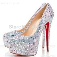 Women's crystal Rhinestone strass Bride Wedding shoes Platform High Heels evening shoes boots pumps sandals
