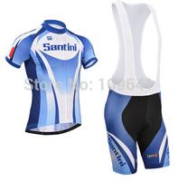 free shipping!2014 Santini team short sleeve cycling jersey + bib shorts,bicycle wear,bike jersey,cycle clothes