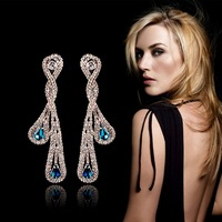 New 2014 brand fashion accessories crystal luxury big dangle earrings water drop long sliver earring for women brincos grandes