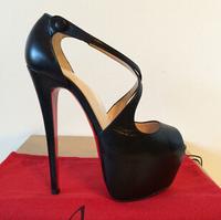 Women's Pumps Black Lambskin leather cross Platform High Heels shoes boots sandals genuine leather