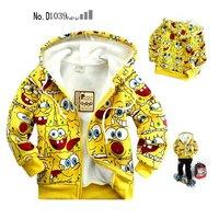 1pc Children's clothing kids cartoon yellow spongebob hoodies boys fleece cotton coat jackets free shipping hot