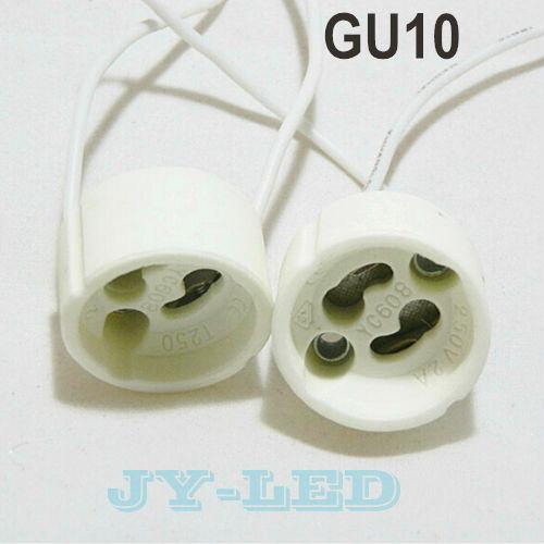 Wholesale 10pcs/lot GU10 Lamp Holder GU10 Lamp Base LED light Socket base Ceramic Wire Connector free shipping(China (Mainland))