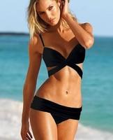 Beachwear Bikini swimsuit  sexy solid triangle Bikini gather Bust swimsuit Push-up bikini Set
