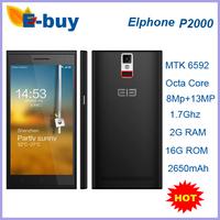 "Elephone P2000 MTK6592 Octa Core 5.5"" 1280x720 2GB RAM 16GB ROM 13MP WCDMA Mobile Phone Fingerprint identify NFC GPS"