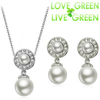 2014 women brand bridal Kate queen 18K Gold Plated Simulated round Pearl pendant Necklace Earrings Jewelry sets  29123