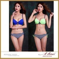 Free Shipping Women Sexy Candy Color Bikini Plus Size Bikiniset Navy Style Bikinisuits